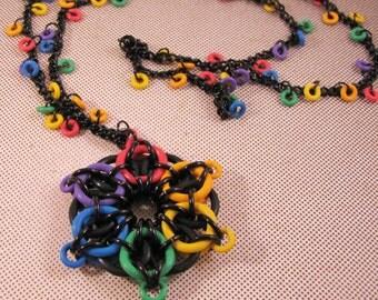 Rainbow Celtic Star Necklace