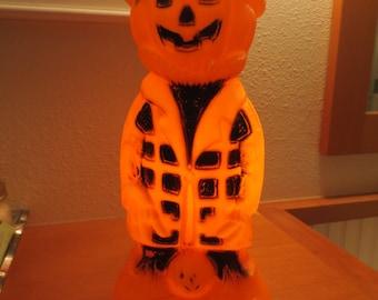1970s Scarecrow Orange and Black Halloween Blow Mold Light Includes cord Hollow molded lamp Halloween pumpkin halloween Jack o Lantern