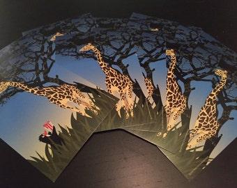 Ten Holiday Giraffe Postcards