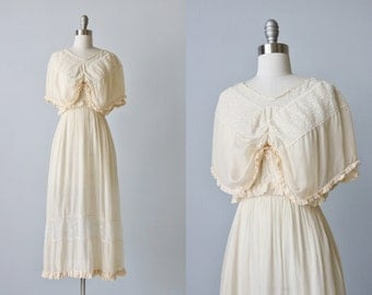 Antique 1910s Silk and Lace Tea Gown Dress / Wedding Dress / Ivory / 1900s Edwardian Dress