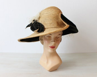 1910s Edwardian Sraw Hat Ostrich Plumes  Wide Brim