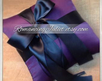 Romantic Satin Offset Ring Bearer Pillow...You Choose the Colors...Buy One Get One Half Off...shown in eggplant purple/black