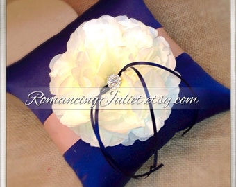 Romantic Peony Bloom Ring Bearer Pillow with Crystal Rhinestone Accents..shown in navy blue midnight/coral peach/Ivory