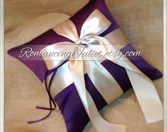 Romantic Satin Ring Bearer Pillow...You Choose the Colors...Buy One Get One Half Off...shown in eggplant purple/champagne