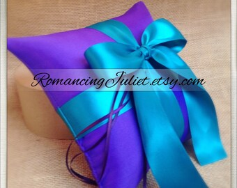 Romantic Satin Ring Bearer Pillow...You Choose the Colors...Buy One Get One Half Off...shown in royal purple/teal