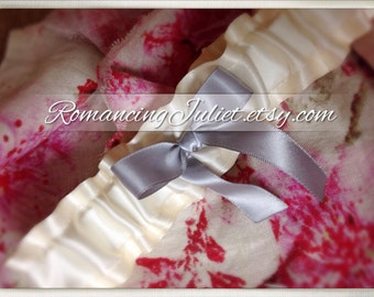 Luxe Bridal Garter..You Choose the Colors..Shown in ivory/silver gray