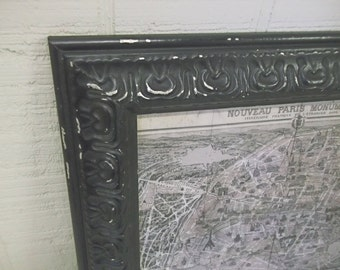 Framed 1940's Era Vintage Paris Map - Shabby Chic Black Textured Frame