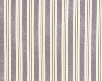 SUMMER SALE - Varsity - 1 yard - Rugby Stripe in Concrete Gray (5597 16) - Sweetwater for Moda Fabric