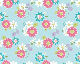 SUMMER SALE - Dream and a Wish - 1 yard - C4812-Floral in Blue - Sandra Workman for Riley Blake Designs