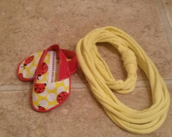 18inch Doll Red and Lady Bug Duct Tape Shoes and Yellow T Shirt Scarf