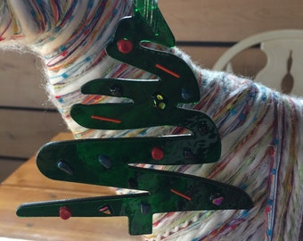 Fused Glass Modern Christmas Tree Ornament