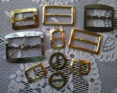 10 Vintage Gold and Silver Metal Belt Buckles Assorted Sizes and Shapes