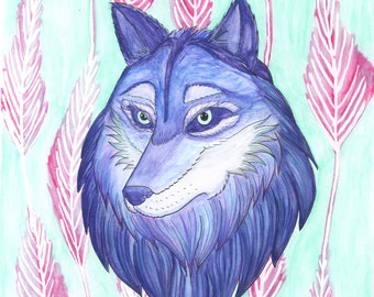 SALE Wolf Print - Under the Watchful Eye - wolf art / watercolor pastel / feathers / wall art