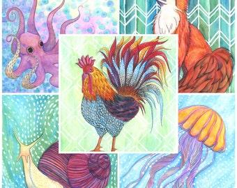 "Menagerie Blank Notecards - Animal Notecards - Wildlife Notecards - Blank Cards - Set of Five 5x7"""