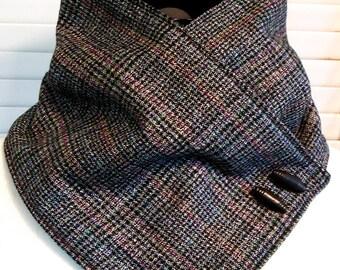 UNISEX Glen Plaid NECKWARMER Black Multi Color Wool & Fleece Cowl Scarf Men/Women Warm/Cozy Accent Buttons
