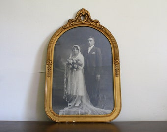 Large Ornate Gold Frame and Wedding Photograph