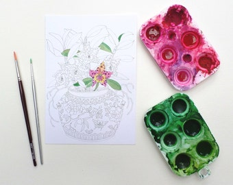 Colouring-in postcards: A set of 4 designs, A5 size