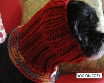 Dog Neckwear with Snood, Pet Cowl Snood, Size SMALL, Rust Snoodie Cowl