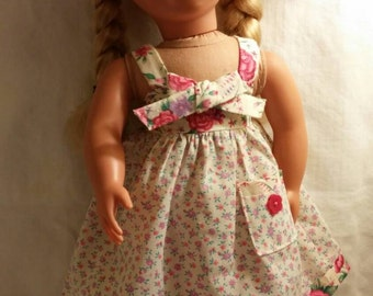 Sundress in cream and pink for 18 inch doll