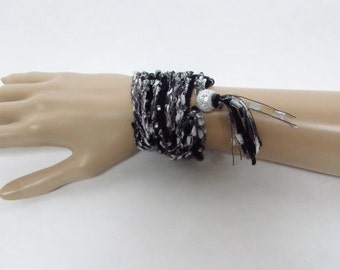 Beaded Crochet Wrap Bracelet in Black, Gray and Silver with Tassel - Ready To Ship