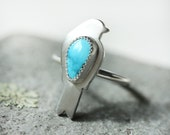 Small Turquoise Ring/ Bird Ring/ Stacking Ring/ Lone Mountain Turquoise/ Nature Ring/ Blue Green/ Brushed Sterling Silver/ Size 8.5