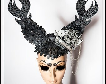 Trip Around The World… Mermaid Fins in Pewter Dark Silver and Black Ears with a Tiny Boat and Jewels Headdress