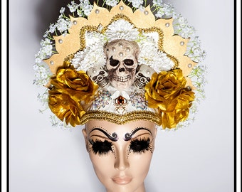 Glowing Halo… Headdress with Skull in Gold and White Headdress
