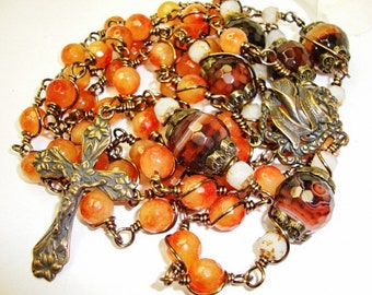Catholic Rosary, Lilies of the Valley, Bronze crucifix and center with Coffee Agate, wire wrapped