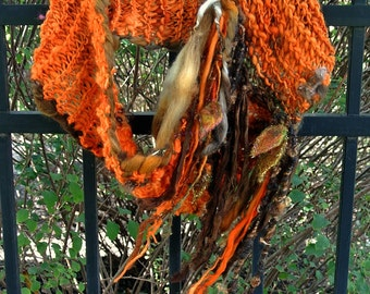 handknit art yarn autumn forest infinity scarf - embers and leaves scarf