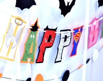 Costume Party Birthday Banner, Halloween Costume Party Birthday Banner, Masquerade Birthday Banner, Costume Party Decor, HAPPY BIRTHDAY
