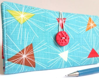 CHECKBOOK COVER in Retro Geometric Fabric Wallet - Atomic