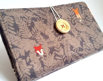 Chocolate Brown Tampon and Pad Woodland Fox and Deer Privacy Clutch - Forest Friends