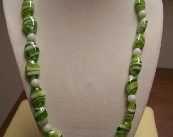 CLOSING SALE Green and White Glass Necklace