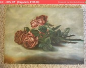 30% Off SALE- Shabby Enchanting Antique Sunday Rose Oil Painting on Canvas
