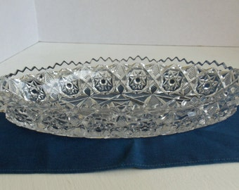 Oval Cut Glass Serving Dish