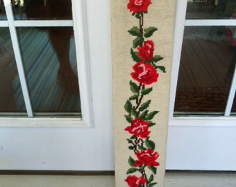 Red Roses Needlepoint Bell Pull