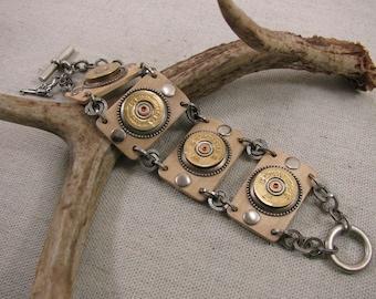 Shotgun Casing Jewelry - Bullet Jewelry - Rustic and Chic Wood Component 20 Gauge Shotgun Casing Toggle Bracelet - Stylish, Modern Design
