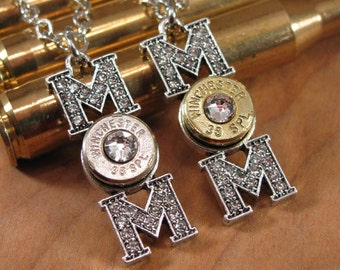 Mother's Day Jewelry - Gift for Mom - Bullet Jewelry - MOM Pendant Bullet Casing Necklace - Bullet Designs