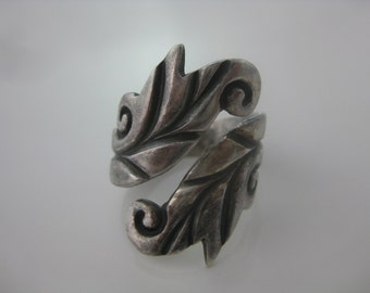 Size 10 - Vintage A Cazares Taxco Mexico Sterling Silver Adjustable Spiral Ring
