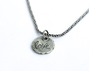 sterling silver love talisman charm necklace . love word necklace . tudor rose simple layering necklace ready to ship gift by peacesofindigo