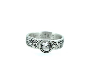 white sapphire engagement ring . unique engagement ring . engraved scroll engagement ring . secret message ring . ready to ship size 6.5