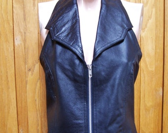 Leather Halter Top, Black Leather Top, Black halter Top, Genuine Leather top, size L