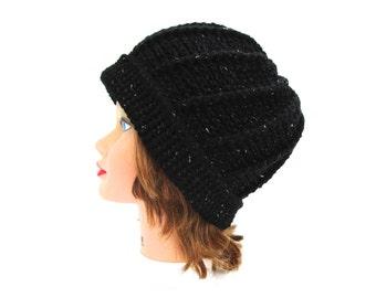 Sparkly Black Hat with Folded Brim - Women's Hat - Crochet Beanie - Warm Headwear - Women's Accessories
