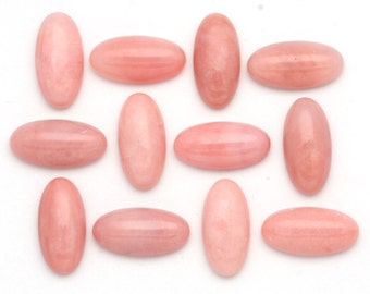 10mm x 20mm - One Large Pink Peruvian Opal Oval Cabochons High Grade