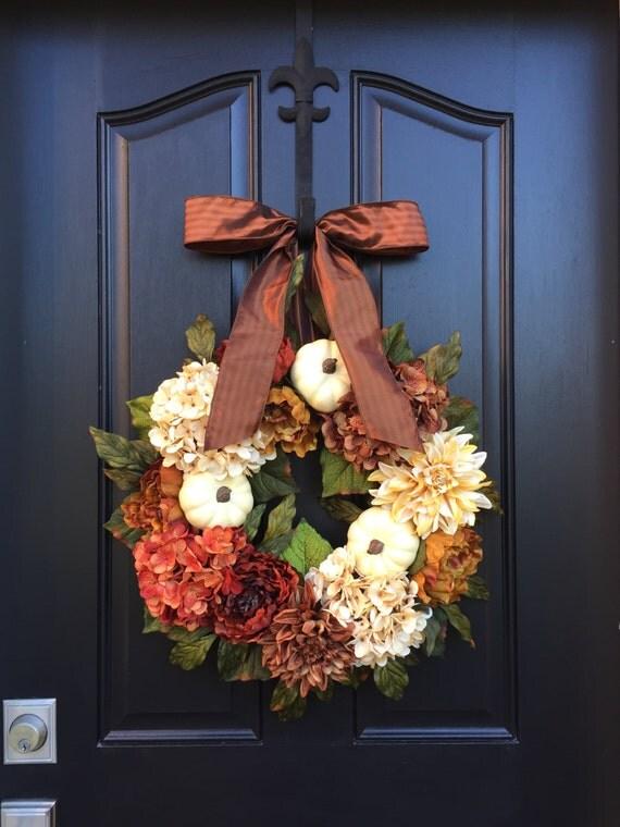 FALL WREATH, Wreaths, White Pumpkins Decor, Fall Inspired Wreath, Best Fall Wreaths 2015, Popular Fall Wreaths, Fall Front Door Wreaths
