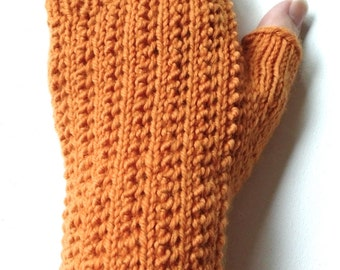 Orange Fingerless Gloves for Women and Teen Girls, Handknit Texting Gloves, Hand Warmers, merino wool gloves, knitted gloves, fall colors