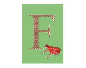 F is for Frog Alphabet Animal Art Print // Nursery Art School Classroom Education Baby Shower Gift // 13x19, 8.5x11, or 5x7