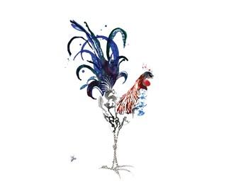 Matted Rooster Limited Edition Farm Art Print from Original // Home Decor Chicken Barnyard Bird