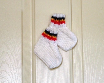 Hand Knitted - Baby Booties in White with Red/Yellow/Black Stripes