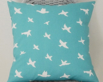 Decorative Pillow Cover in Coastal Blue Bird Print Home Decor Fabric Invisible Zipper 5 Sizes Available